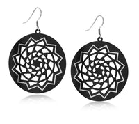 Pinecone Patchwork Black Disc Earring Large