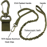 Retractable Tactical Bungee Dog Leash with 7075 Space Aluminum Hook Clips