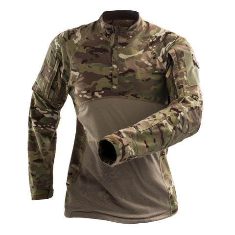 Best Combat Shirt - Scorpion OCP 1/4 Zip Military Combat Shirt Men's Tactical Army Assault Camo Shirt