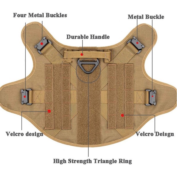 Adjustable Tactical Dog Harness Vest With Handle