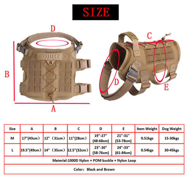 Nylon Tactical Service Dog Harness Heavy Duty Dog Training Harness