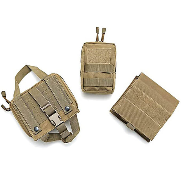 Tactical Dog Harness Adjustable Training Molle Vest with 3 Detachable Pouches