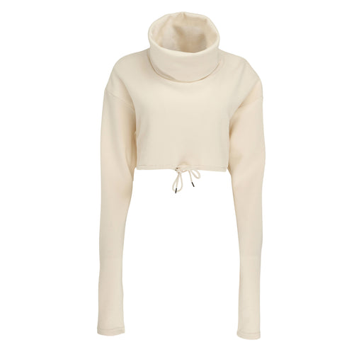 Sheen London cropped roll neck jumper beige