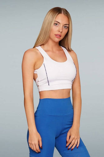 Lorella Med Impact Cropped Sports Bra - White