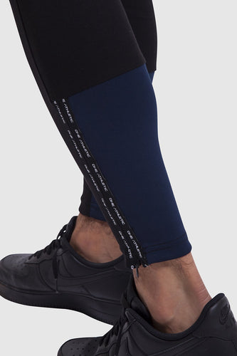 Calf detail of mens black gym joggers