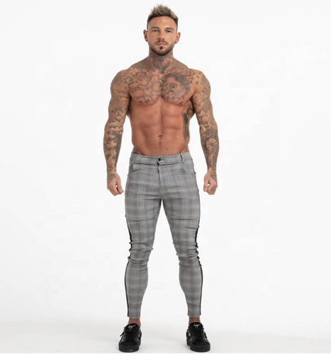 EVOKE - BLACK SIDE STRIPE GREY PANTS