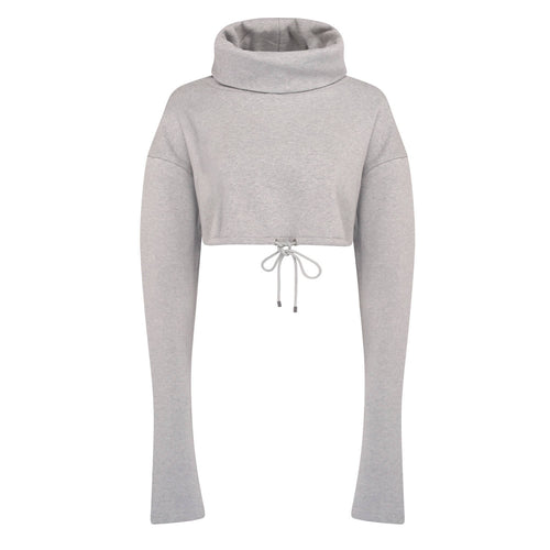 Sheen London cropped roll neck jumper grey