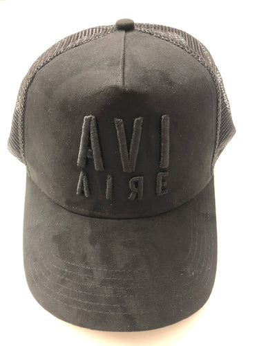 Faux suede trucker baseball cap - black