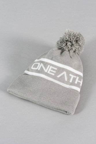 Beanie Hat – Grey/White
