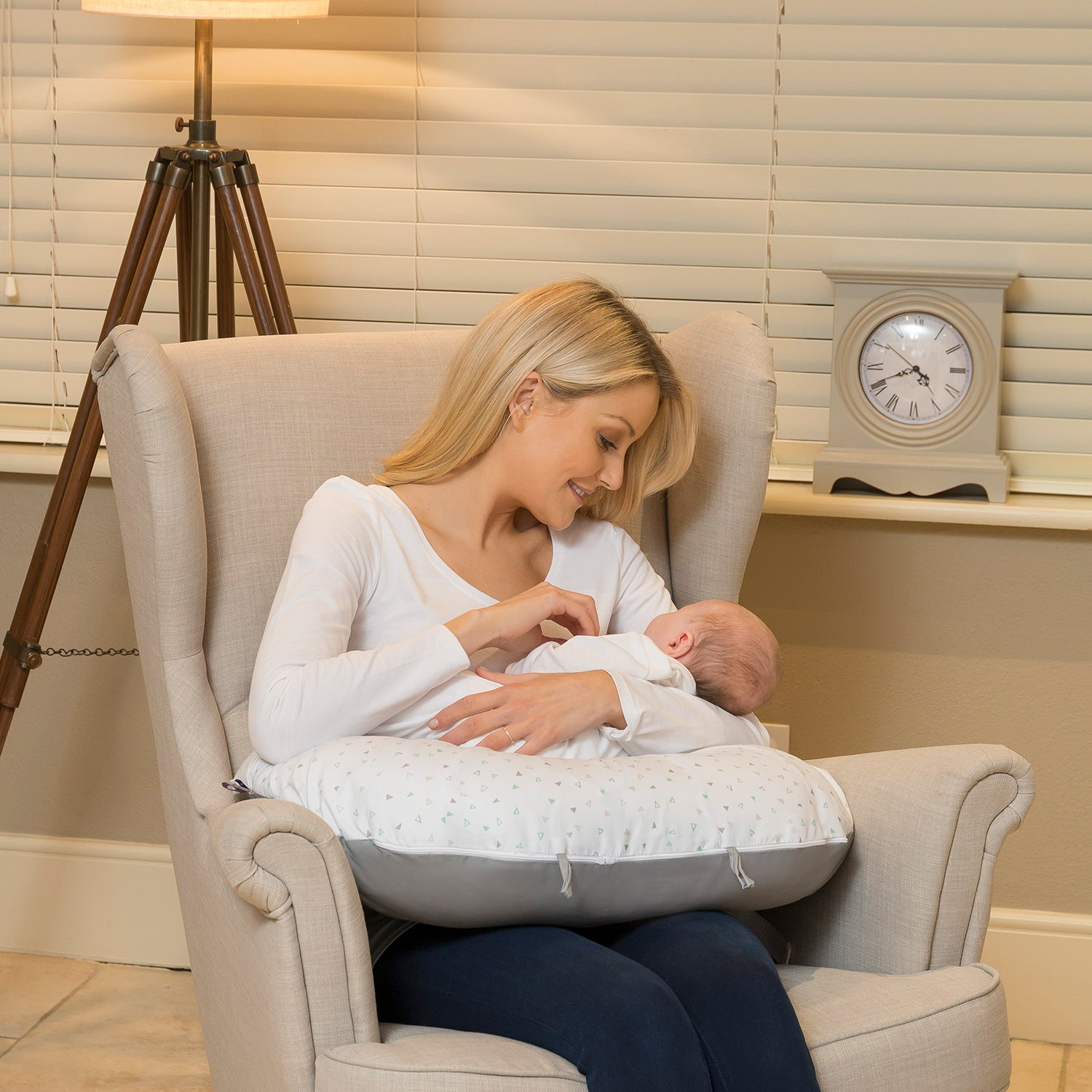 ClevaCushion™ Nursing Pillow & Baby Nest - Happy Baby