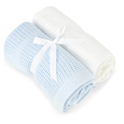 Baby Elegance 2 Pack Cellular Blanket - Happy Baby