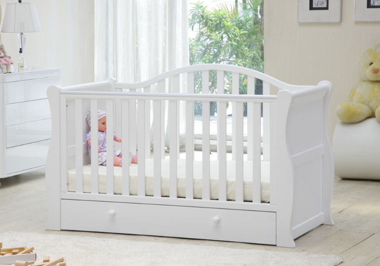 Oslo Sleigh Cot Bed White/ Grey - Happy Baby