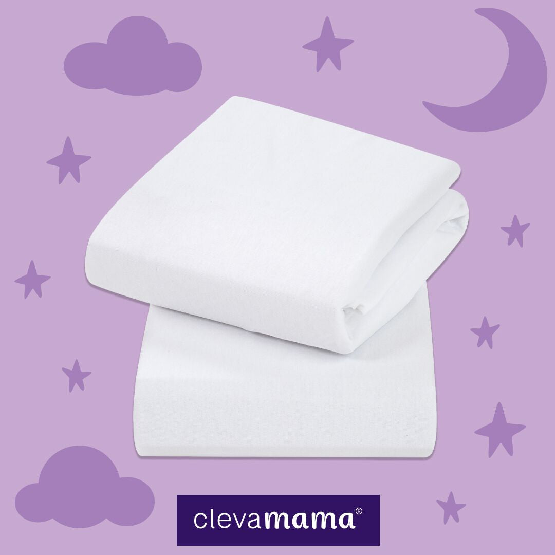 Clevamama Jersey Fitted Sheet Crib/Cradle White - Happy Baby