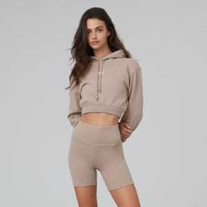 Kith Women Alexa Cropped Hoodie - Coffee Heather