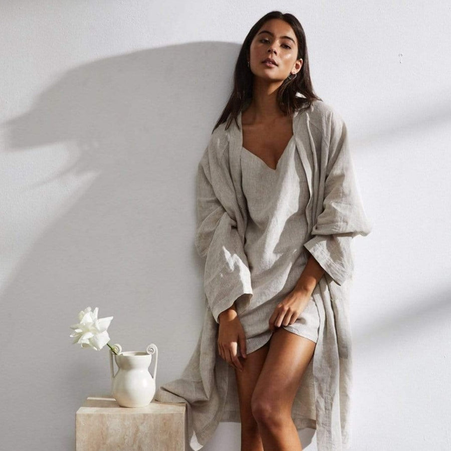 french flax linen robe.
