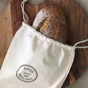 aussie bread bag, store your bread and save the environment, one plastic bag at a time, calico drawstring bread bad