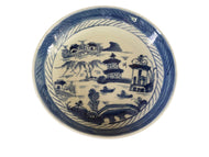 19th Century Chinese Canton Blue and White Porcelain Pagoda Motif Dish 5.5' D