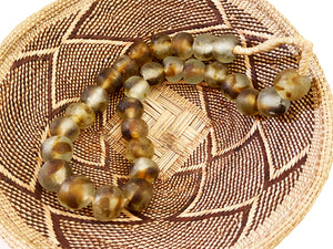 "African Lg GlassTrading Beads Necklace 27"" H"