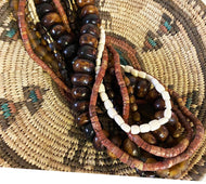 Nigerian Tribal Hausa Basket W/ six Trade Beads Necklaces