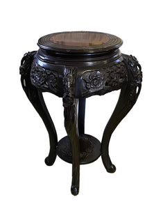 Antique Chinoiserie Rosewood Pedestal Stand Display