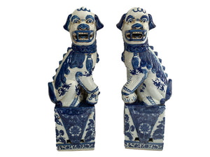 #3144 Chinoiserie Blue and White Foo Dogs - a Pair