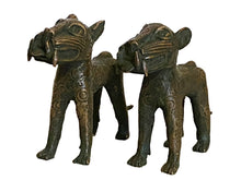 Load image into Gallery viewer, #3367 Superb Benin  Leopards Bronze Nigeria African Set of two