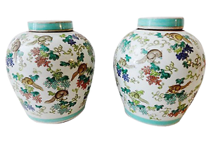 "#1640 Superb Chinese Porcelain  Famille Rose Ginger Jars pair 11"" H"