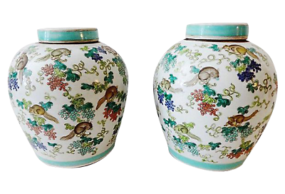 Superb Chinese Porcelain  Famille Rose Ginger Jars pair 11