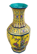 "Load image into Gallery viewer, Famille Jaune Hexagonal Shaped Vase 20"" H"