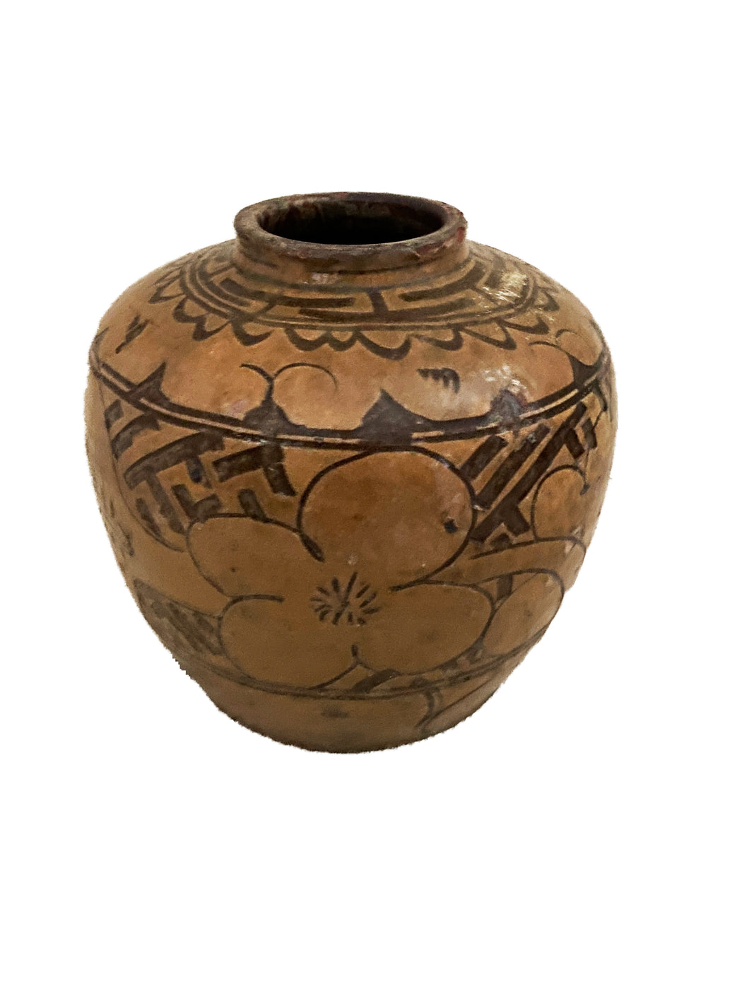 #3695 Old Asian Earthenware Pottery Storage Jar 9
