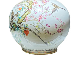 "# 3478 Large Chinoiserie  Porcelain Onion Shaped Vase 22.5"" H"