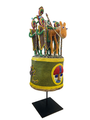 Stunning African Yoruba Beaded King Crown 36