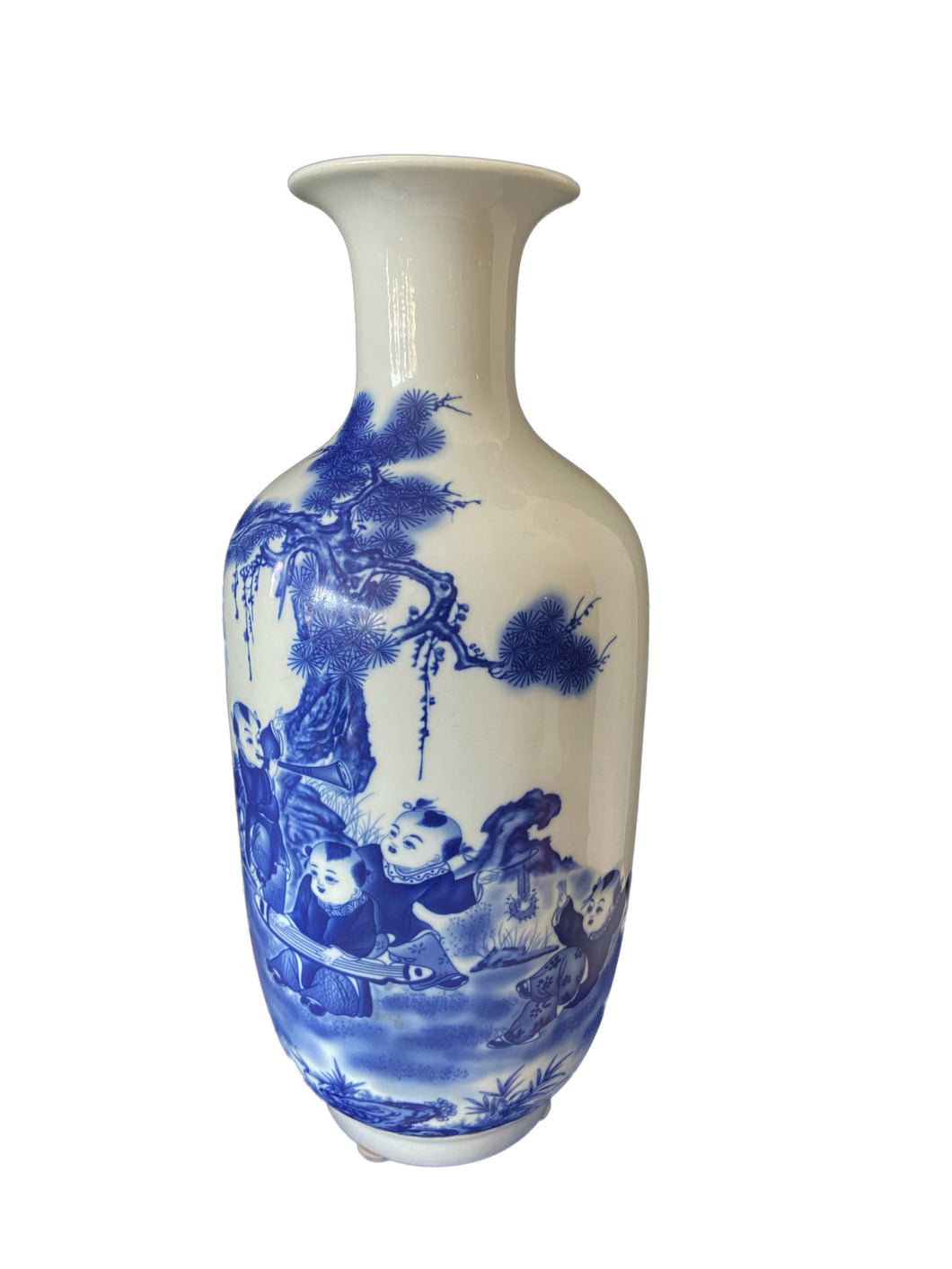 Porcelain Blue & White Chinoiserie Vase 17.75