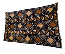 "Load image into Gallery viewer, Brown/Mustard/Black/White Mud Cloth Mali 68"" by 40"" #3572"