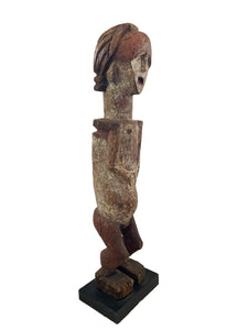 "Rare African ambete reliquary Statue  Gabon on a custom wood stand 30.5"" h"