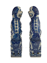 Load image into Gallery viewer, #3144 Chinoiserie Blue and White Foo Dogs - a Pair