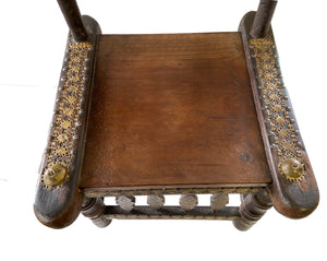 "Old Low African Chief Chair I Coast 27"" H by 21"" W"