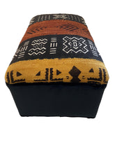 "Load image into Gallery viewer, Ottoman in African Malian Mud Cloth Bogolan Textile 13.5"" H by 21"" W # 2262"