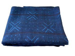 "Vtg Mali Indigo Mud Cloth Textile 37"" by 69"" #3399"