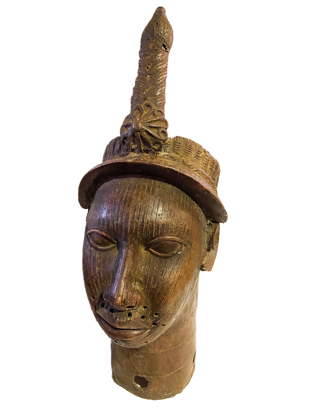 Superb Lg Benin Bronze Head of Oba Nigeria African 21.5