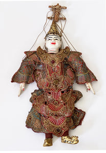 "Ornate Burmese Asian Opera Puppet Marionette 18.5"" H"