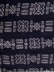 "Black & White Mali Mud Cloth Textile 44.5"" by 64"" # 1899 /1899A"