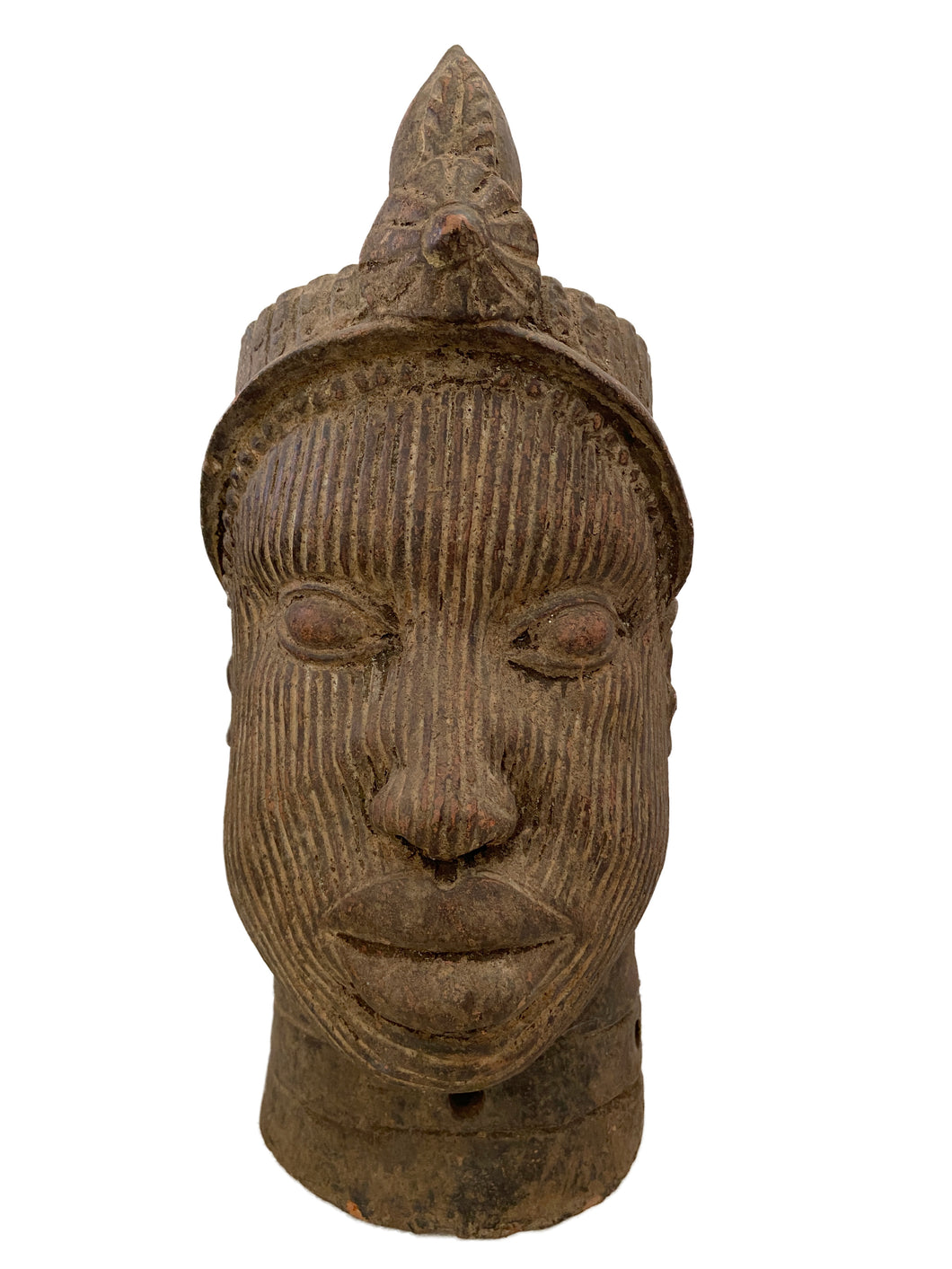 Large Ife Clay / Terracotta Crowned Head of Oni Yoruba Nigeria African 18
