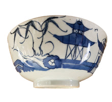"Load image into Gallery viewer, 19th Century Chinese Canton Blue and White Porcelain Pagoda Motif Bowl 8"" D # 3154"
