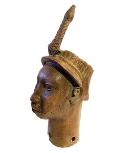 "Superb Lg Benin Bronze Head of Oba Nigeria African 21.5"" H"