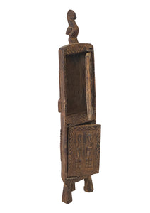"#3487 Dogon Wooden Medicine / Tobacco Box Mali 18.5"" H"