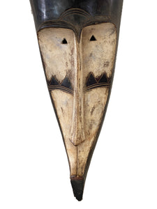 "#3322 Lg Fang Mask Elongated Face Gabon African Mask 31"" H"