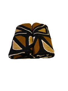 "Brown/Mustard/Black/White Mud Cloth Mali 68"" by 40"" #3572"