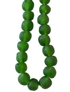 African Emerald Color Glass Trading Beads String