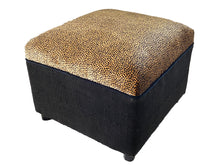 Load image into Gallery viewer, Custom Made Velvet Animal Print Ottoman #3328